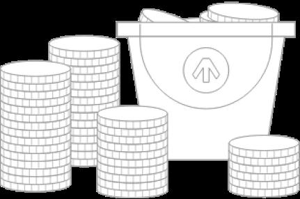 Money bucket illustration